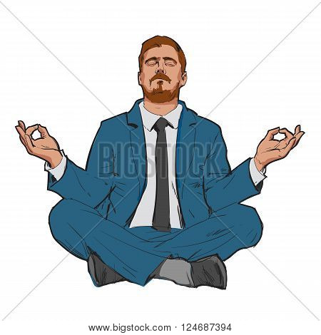 Businessman in nirvana. Relaxed businessman. Search yourself, relax. Harmony with the world. Man resting. Man meditating. Rest of stress at work. Man relax in the vacation. . Man and relax