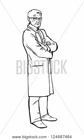 Serious doctor man to his full height, the attending person is baptized with her hands, warning look of an old man, vector illustration isolated on white background, art sketch hand-drawn