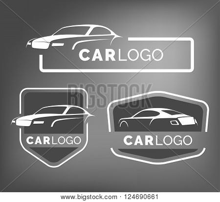 Set of modern car emblems badges and icons. Modern sports car silhouette logo design template for car service tire service and car wash.