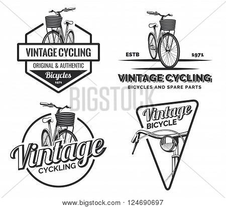 Set of vintage road bicycle labels emblems badges or logo isolated on white background. Handcrafted bicycle repair service and classic bicycle club design elements. Isolated vintage bicycle side view. Vector.