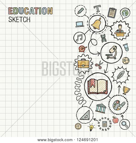Education hand draw integrated icons set on paper. Colorful vector sketch infographic circle illustration. Connected doodle pictograms. social, elearn, learning, media, knowledge interactive concepts