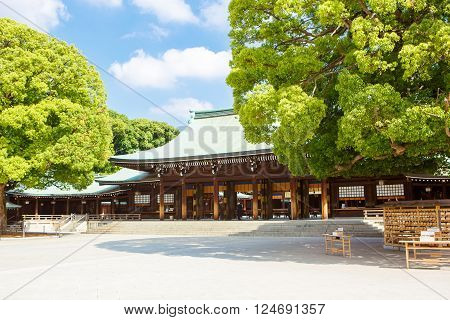 Imperial Meiji Shrine located in Shibuya, Tokyo shrine that is dedicated to the deified spirits of Emperor Meiji and his wife, Empress Shoken poster