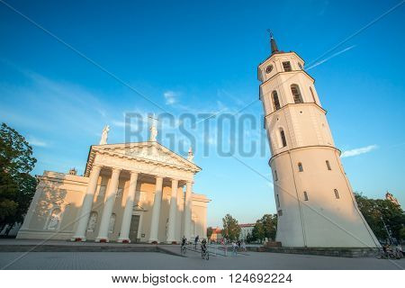 Vilnius, Lithuania - August 10, 2015: Vilnius cathedral square in the morning, Lithuania