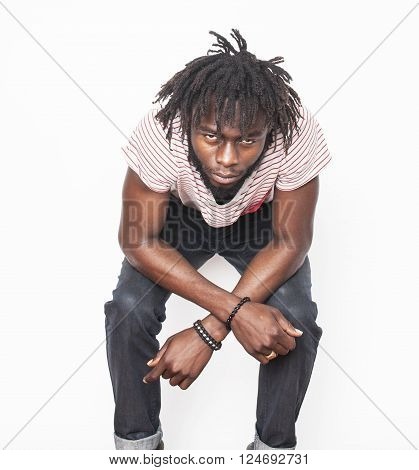 young handsome afro american man, angry look, weed junky isolated on white, problem teenage, depression greef close up, lifestyle people concept