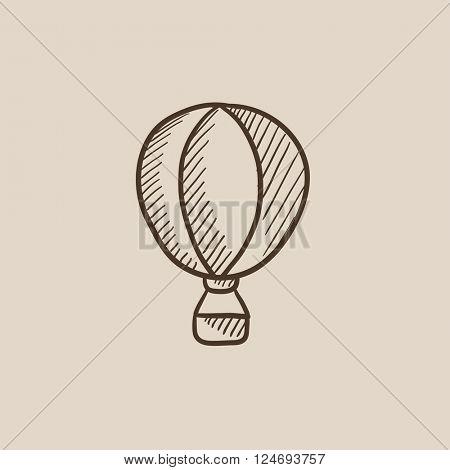 Hot air balloon sketch icon.