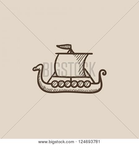 Old ship sketch icon.