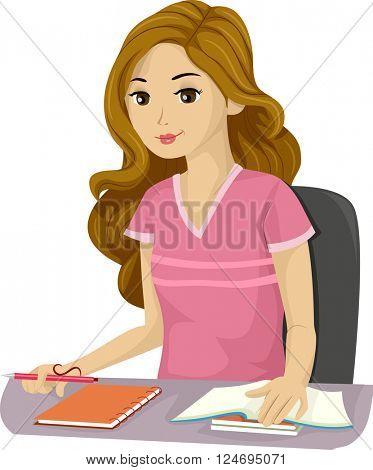 Illustration of a Teenage Girl Studying