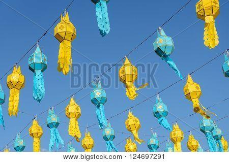 Colorful Lanna paper lantern in Loi Krathong festival or yeepeng lantern festival Thailand