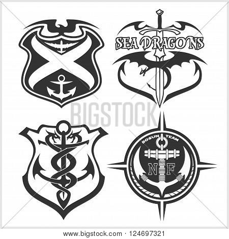 Navy military patches and badges - vector set poster