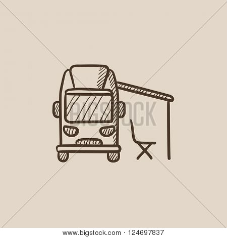 Motorhome with tent sketch icon.
