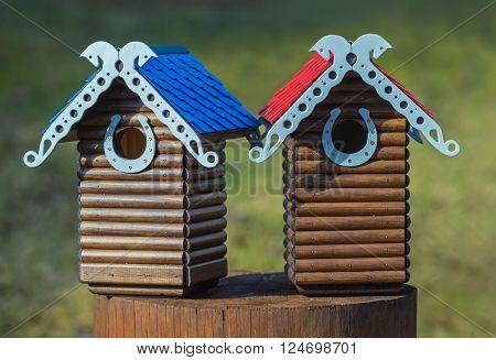 Nesting box. Carved wooden nest box handmade. Wooden house for birds