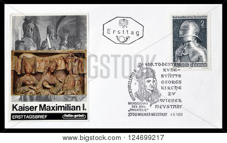 AUSTRIA - CIRCA 1969 : Cancelled First Day Cover letter printed by Austria, that shows Kaiser Maximilian.