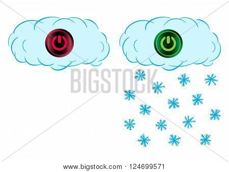 Cloud with the snow and an icon of inclusion and switching off