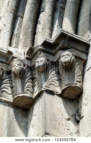 Seyne (Alpes-de-Haute-Provence Provence-Alpes-Cote-d'Azur France): facade of the historic church detail