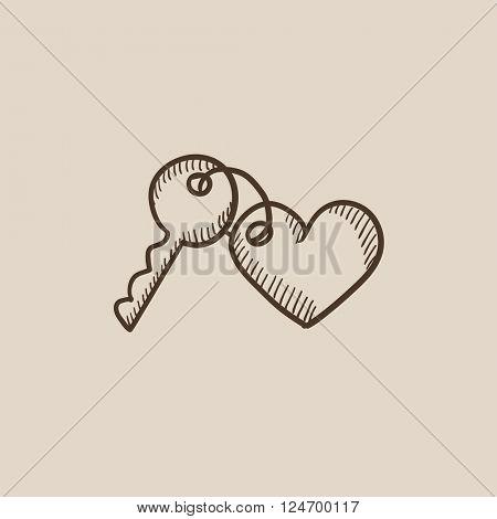 Trinket for keys as heart sketch icon.