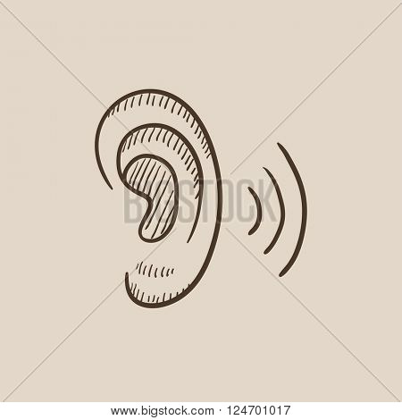 Human ear sketch icon.
