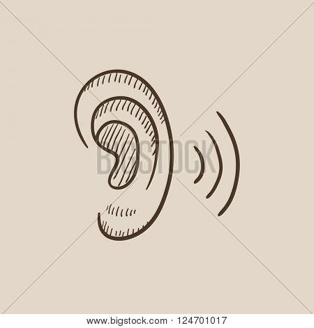 Human ear sketch icon.