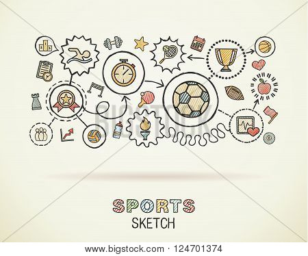 Sport hand draw integrated icons set on paper. Colorful vector sketch infographic illustration. Connected doodle color pictograms, swimming, football, soccer, game, fitness, activity concept