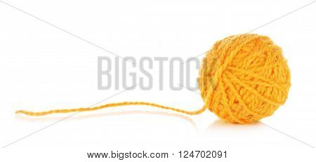orange yarn ball, isolated on white background