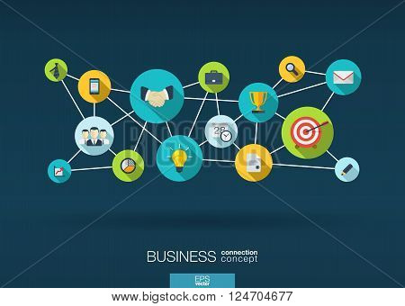 Business network. Growth background with integrate flat icons. Connected symbols for strategy, service, analytics, research, digital marketing, communicate concepts. Vector interactive illustration