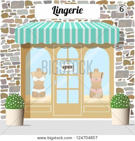 Lingerie shop building facade of stone. Mannequins in blue and pink underwear cloth in the display window.  Vector Illustration.