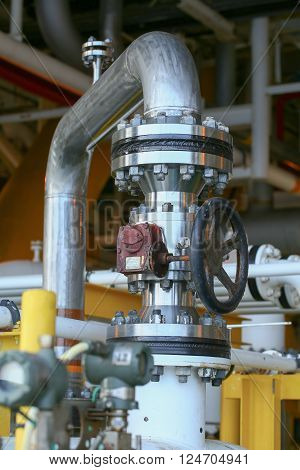 Valves manual in the process. Production process used manual valve to control the system, duplex valve or stainless steel valve in oil and gas process and high quality.