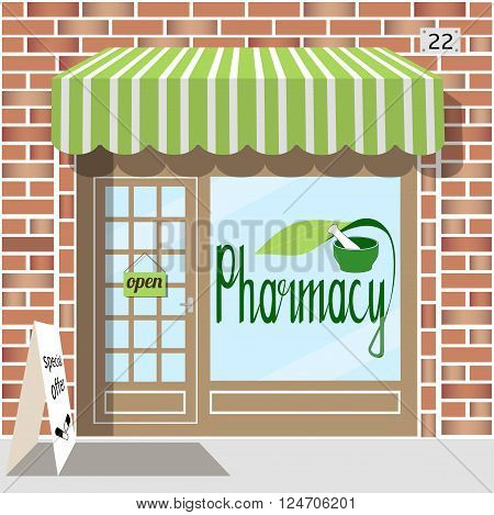 Pharmacy facade of red brick. Sticker with pharmacy symbol in the window. EPS 10 vector.