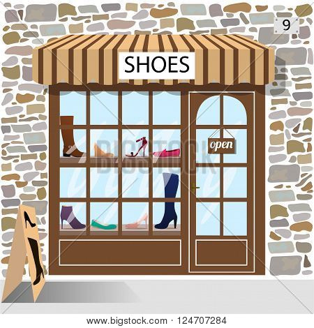 Shoes shop building facade of stone. Shoes and boots in the shop window.Vector illustration eps 10.