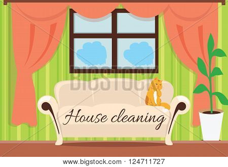House cleaning. Cat on sofa design flat. House and cleaning, cleaning service, clean house, house cleaning service, housework and home cleaning, domestic cleaning service, clean room illustration