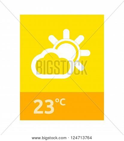 Weather web element banner design. Weather forecast, rain and sun, banner web interface, app forecast data information webpage vector illustration