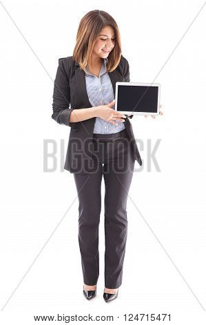 Pretty Sales Executive With A Tablet Computer