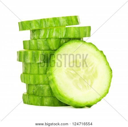 fresh sliced cucumber, isolated on white background