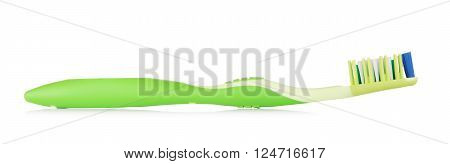 new green toothbrush, isolated on white background