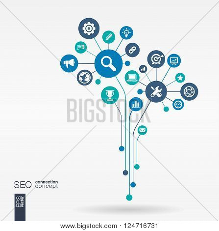 Abstract SEO background - connected circles, integrated flat icons. Growth flower idea with network, digital, connect, analytics, social media and market concepts. Vector interactive illustration
