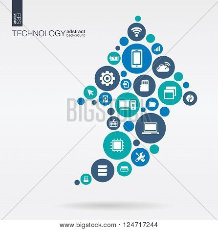 Color circles, flat icons in arrow up shape, technology, cloud computing, digital concept. Abstract background with connected objects in integrated group of elements. Vector interactive illustration