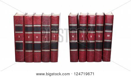 Red books covers with serial numbers. Retro book collection ten volumes, textured leather. White background, isolated
