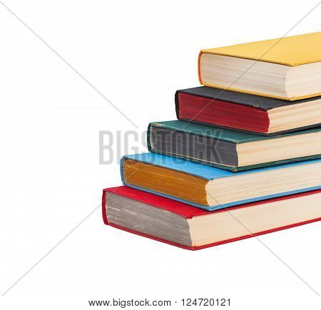 Book stairs going up, stairways book ladder with colored pages and covers. Path to success conceptual image, creative ladder to knowledge. soft focus white background. isolated