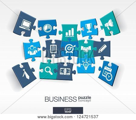 Abstract business background, connected color puzzles, integrated flat icons. 3d infographic concept with marketing research, strategy, mission, analytics pieces in perspective. Vector illustration.