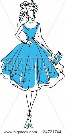 Stylish beautiful model for fashion design. Hand-drawn graphic illustration. Body of pretty girl. Sketch drawing, elegant vector style.