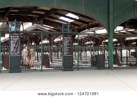 This is the interior of the now defunct Central New Jersey Railroad Terminal at Liberty State Park in Jersey City New Jersey.
