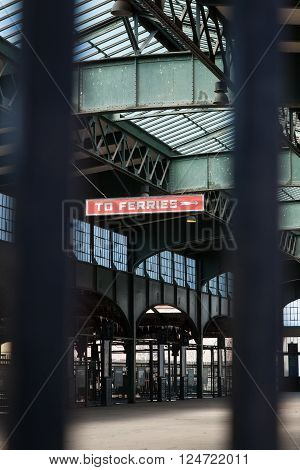 JERSEY CITY, NEW JERSEY - March 6, 2016: This is the interior of the now defunct Central New Jersey Railroad Terminal at Liberty State Park