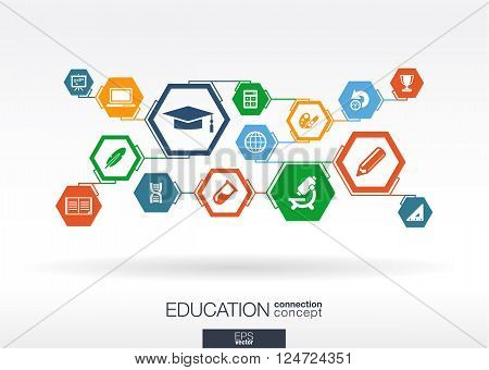 Education network. abstract background with lines, polygons, and integrate flat icon