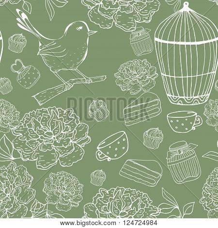 Vintage floral seamless pattern with bird, cage, peons. Vector outline hand drawn texture. Green bacground
