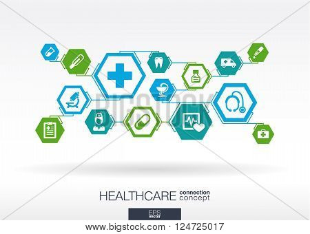 Medicine background with lines, polygons, and integrate flat icon