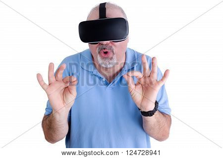 Man On White Wearing Virtual Reality Glasses