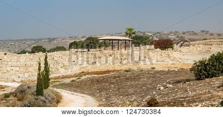 Archaeological remains of ancient greek city Kourion Archaeological Park in Cyprus