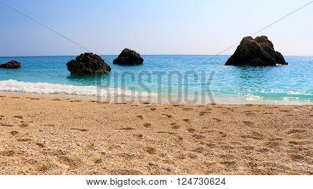 Megali Petra Beach, Lefkada Island, Levkas, Lefkas, Ionian sea. Wild beach of Megali Petra.