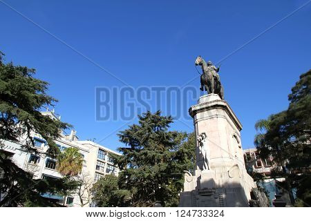 Statue of Bruno Mauricio de Zabala in the Plaza Zabala in Montevideo Uruguay South america. poster
