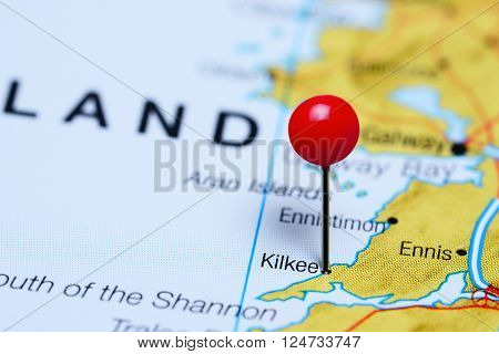 Kilkee pinned on a map of Ireland