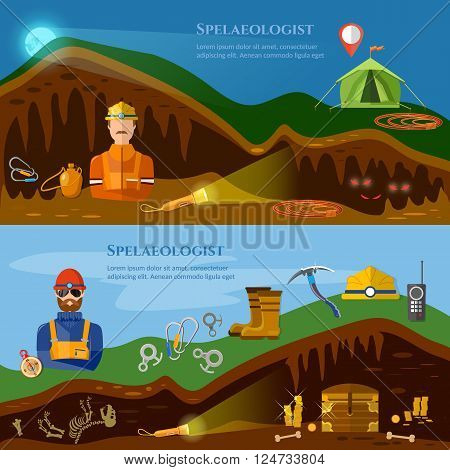 Speleology banners caves study underground mines vector illustration